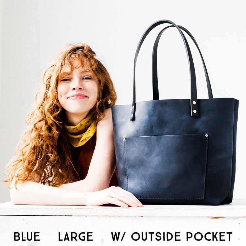 657e8f88eb036 Leather Tote Bag Personalized Tote with Zipper Option   Etsy