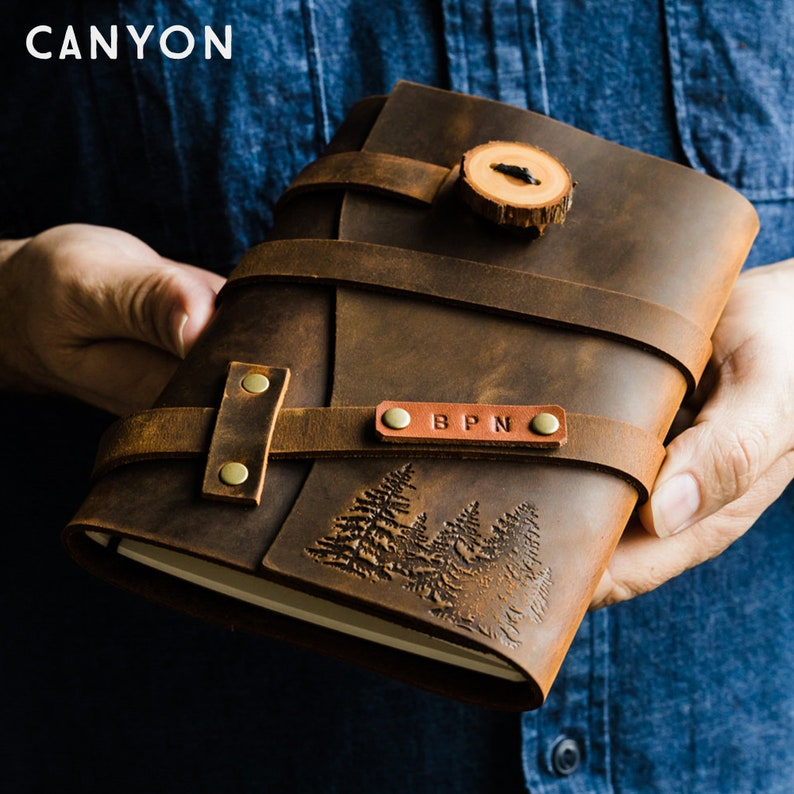 Custom Leather Journal  Personalized Full Grain Leather image 0