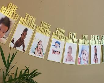 FLASH SALE !! Gold glitter Baby first birthday banner / first year / birthday decor / birthday banner / first birthday / handmade banner