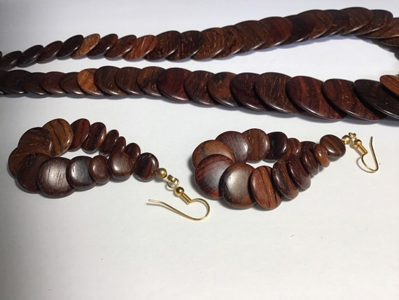 Mid century stacked wood necklace and matching ear