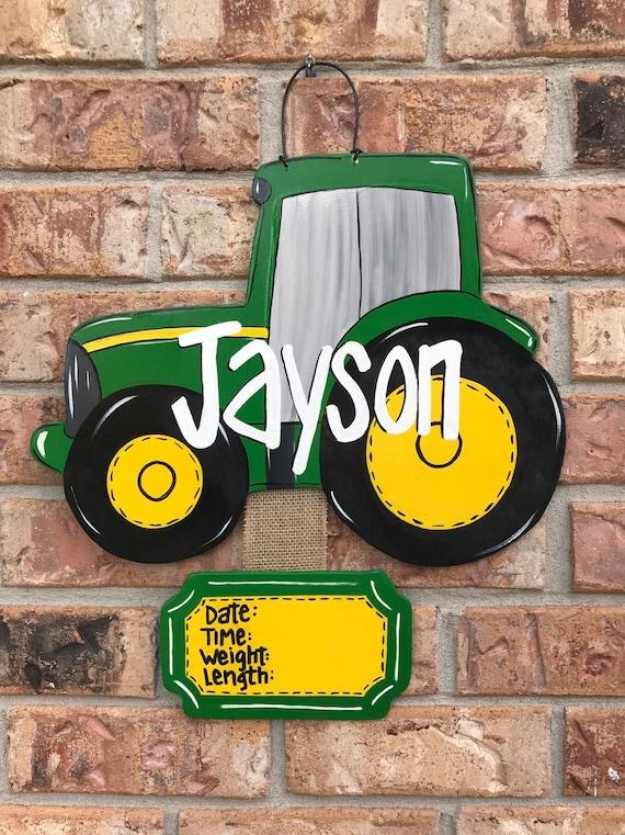 Farm Hanger Tractor Door Hanger Tractor Nursery Wall Hanger Tractor Decor Farm Nursery Unfinished Wood Tractor Monogram Hanger
