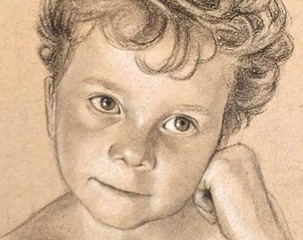Custom Hand Drawn Portrait - Charcoal Drawing from Photo