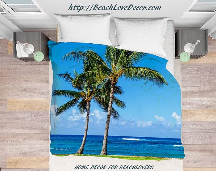 housse de couette palmiers avec des palmiers sur la plage etsy. Black Bedroom Furniture Sets. Home Design Ideas