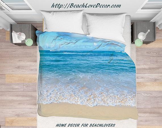 housse de couette oc an hawa en eau literie couette etsy. Black Bedroom Furniture Sets. Home Design Ideas