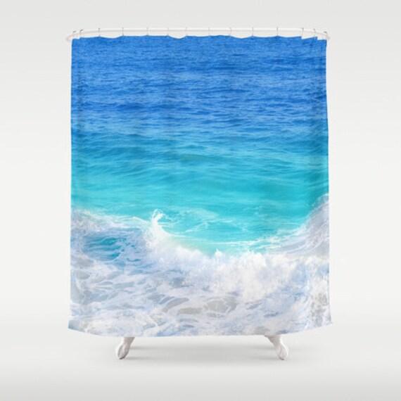 Blue Teal Ocean Shower Curtain Deep Bathroom Beach