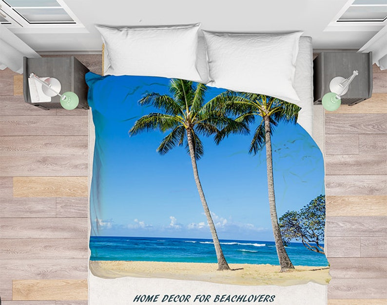 Bettbezug Hawaii Bettbezug Palmen Palmen Bettwäsche Ozean Etsy