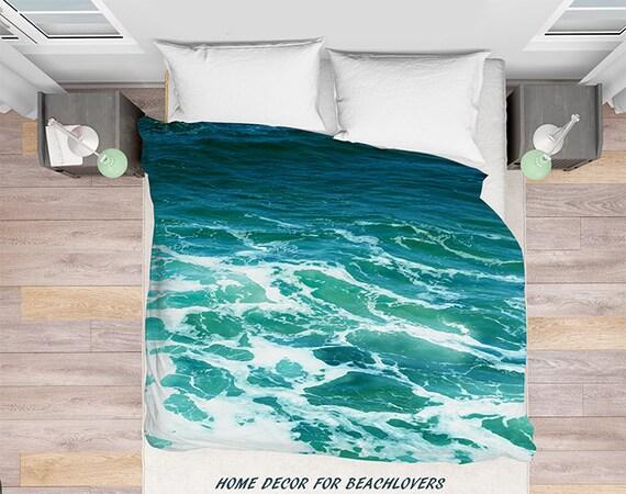 Turquoise Ocean Surf Duvet Cover Personnalise Mer Ete Etsy