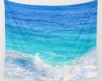 Tropical ocean Wall Tapestry, blue, teal, turquoise ocean, sea wall tapestry, hanging grommets beach coastal, 26x36, 50x59, 88x104 Inches