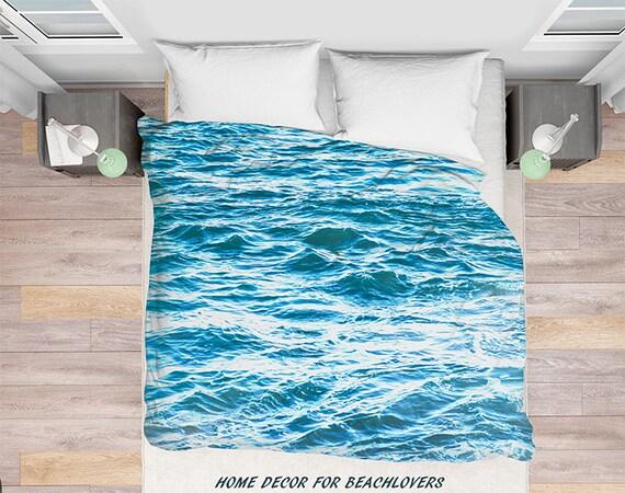 Blau Weiß Meer Bettbezug Malibu Bettbezug Bettwäsche Wasser Wasser Bettdecke Abdeckung Blauen Ozean Meer Bettbezug Schlafzimmer Akzent