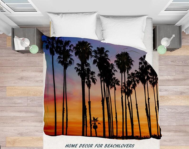 Sonnenuntergang Palmen Bettbezug Hohe Palmen Bäume Etsy
