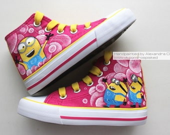 0738ae98bd Custom Minion shoes. Kids minion sneakers. Hand drawn hand painted. Minions  painted canvas shoes