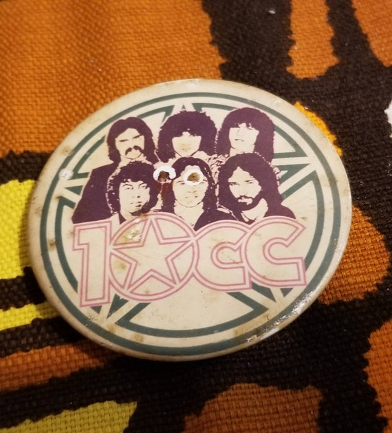 10cc vintage 80s plastic pin For your collection vintage relic of the legendary 10cc Amazing gift for fans of vintage items 80s.