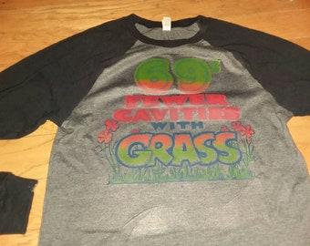 Vintage 1970s 69% Fewer Calories With Grass Raglan Baseball Shirt Jersey Size Small