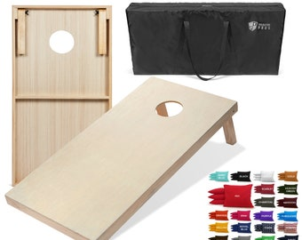 Tailgating Pros 4'x2' Cornhole Boards w/ Carrying Case & set of 8 Cornhole Bags (YOU PICK COLOR) 25 Bag Colors!
