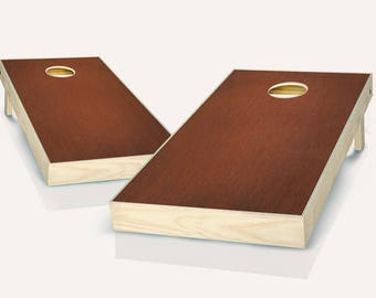Black Border Rosewood Stained Cornhole Board Game Set With