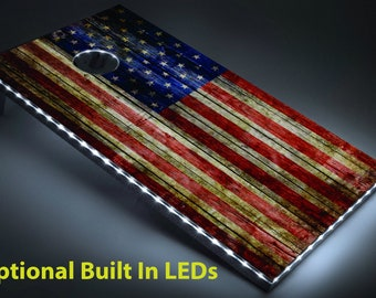 Tailgating Pros 4'x2' Star Stripe American Flag Cornhole Boards w/ Carrying Case, optional Light Package and set of 8 Bags!