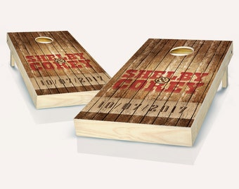 Tailgating Pros Retro Stained Middle Point Pyramid Cornhole Boards with Set of 8 Cornhole Bags