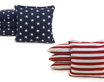 8 All Weather Cornhole Bags Stars and Stripes. Free Shipping! American Flag Bags