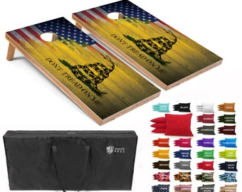 Tailgating Pros 4'x2' Gadsden Flag Stars Stripes American Flag Cornhole Boards w/ Carrying Case & set of 8 Bags (YOU PICK COLOR) 25 Colors!