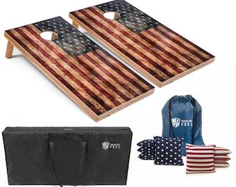 Tailgating Pros 4'x2' Regulation Flag Series Cornhole Boards w/ Carrying Case & set of 8 Bags. Different Lighting Options Available!