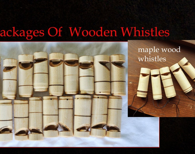 You can now order large orders of wooden whistles from this listing