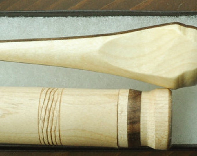 Mixed maple & walnut wood mini stitch lay helper tool with needle case set