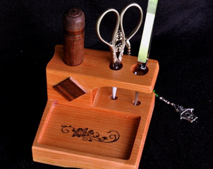 New mini four by four  sewing / stitchery tool stand with removable  walnut wood needle case