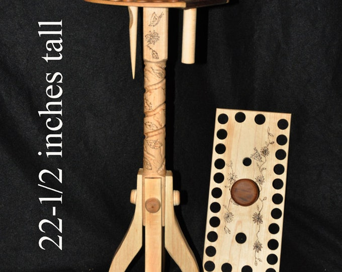 New Hand made 22-1/2 inches tall floor stand   Thread stand  with changeable top (Heavy little stand) Maple/walnut/cherry wood