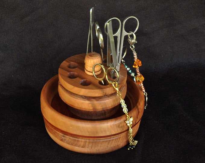 Mahogany wood bowl stand with removable center/needle case