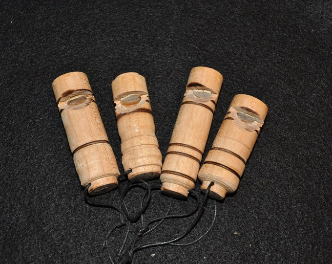 4-Pack Of Hand Made Wooden Whistles (Maple wood)