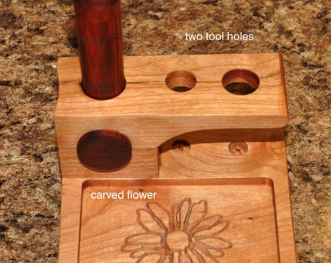 Mini tool stand with red heart wood needle case