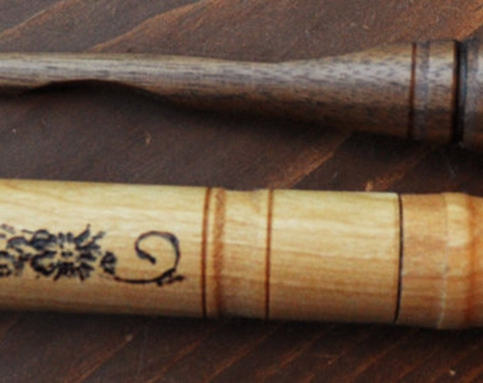 Walnut mini stitch lay tool and cherry wood needle case set
