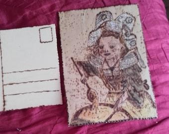 Breton pyrogravee wooden postcard