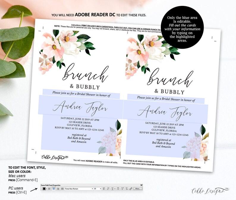 Editable Details card Printable Template Floral Boho Chic Angela Bridal Shower Details Card Editable Text Instant Download