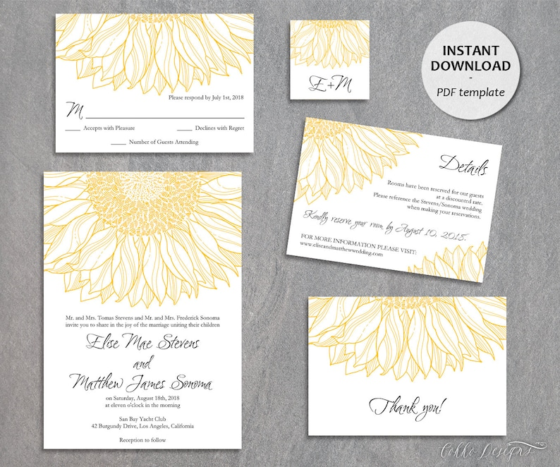 Sunflower Wedding Invitation Template Printable Outdoor Yellow Farm Summer Invite DIY PDF