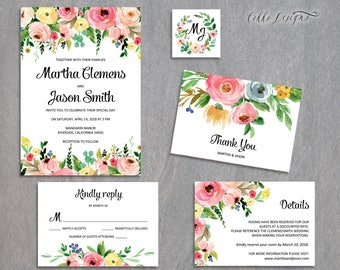 5-Piece Suite-Floral Wedding Invitation Templates, Printable Suite, Instant Download, Editable Text /Martha