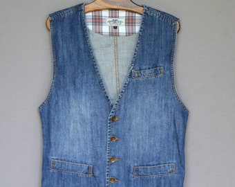 a698f890b1 Blue DENIM Vest Mens Sleeveless Denim Jacket Vintage Jeans Stonewashed  Hipster Grunge Vest Biker Waistcoat Large Size