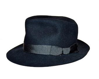 91eda737b13 Vintage Black Wool Fedora Hat Fashion Mens Hat Steampunk Hat Original Black  By Dunn   Co. Size 6 5 8