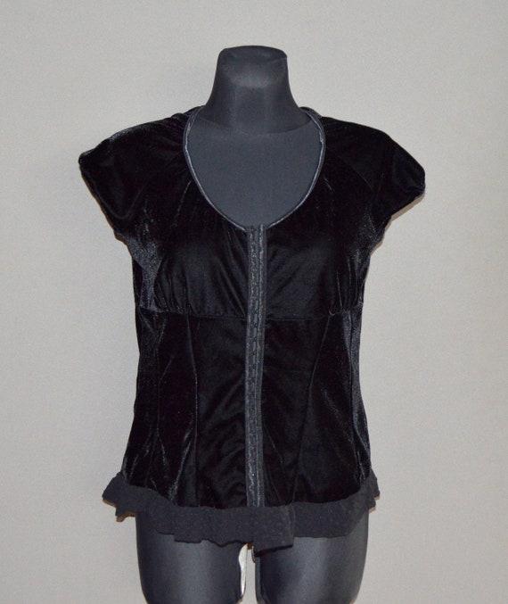 Black Velvet Womens Bodice Corset Velvet lace Blou