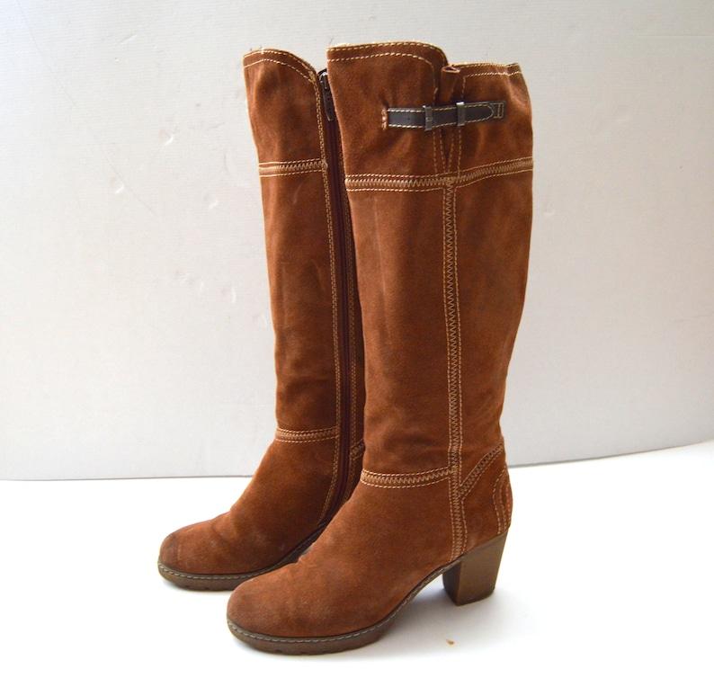 c5f7f157921 Bottes marron daim hauteur du genou bottes Vintage Go-Go