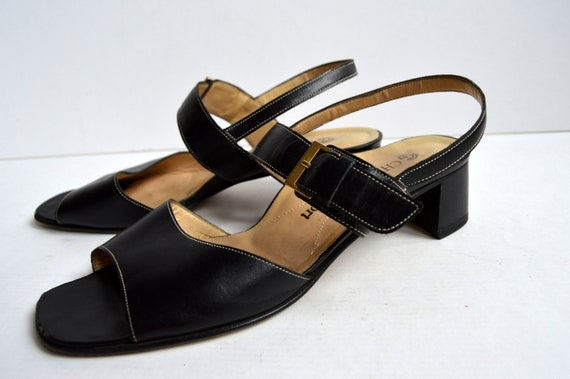 4d6707ef02f Vintage 90 s Black Leather Strappy Sandals Chunky Platform