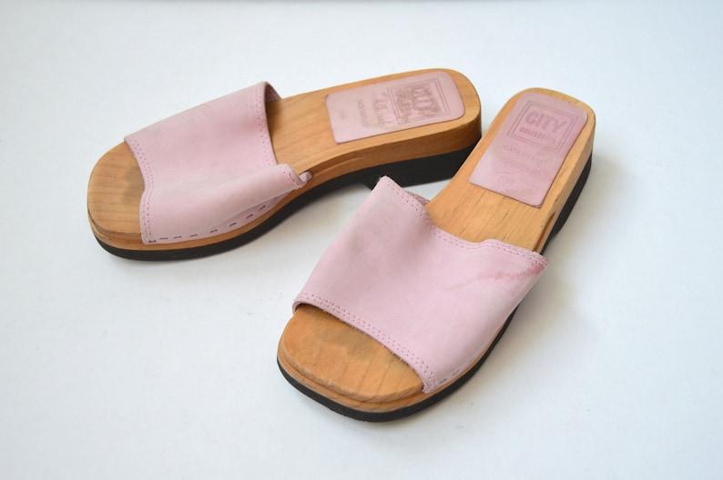 3de15da87b0 Vintage Wooden Sandals Pink Leather Sandals Leather wooden