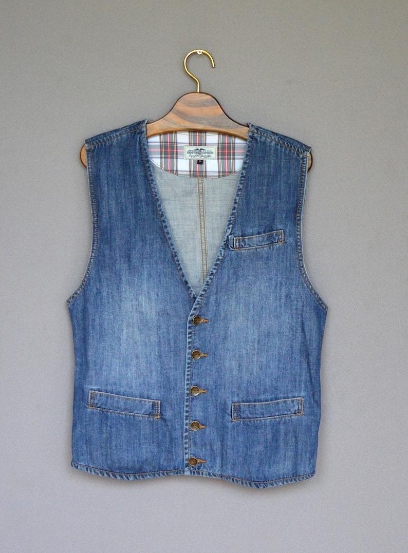 54d45687c2b4c Blue DENIM Vest Mens Sleeveless Denim Jacket Vintage Jeans