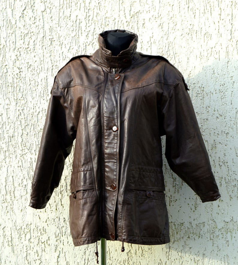 9204e40120af5 80s Women s Leather Hipster Jacket Brown Leather Coat
