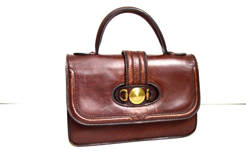 eebf620d4fe5a Braun Leder Handtasche Top Griff Tasche Vintage 70er Jahre