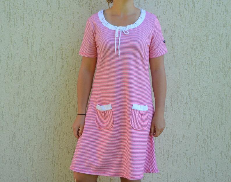 Vintage Sailor Dress Nautical Pink Striped tunic Striped Dress Red White Summer Dress 90s cotton knee length Jersey dress Festival Dress