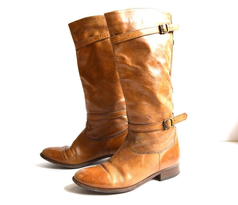 bf0afc997c38a6 Vintage braun Leder Frauen Reiten Stiefel hoch Cowboy-Stiefel