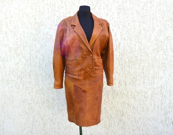 Leather Suit Vintage 80s Suit Real Leather Suit Pe
