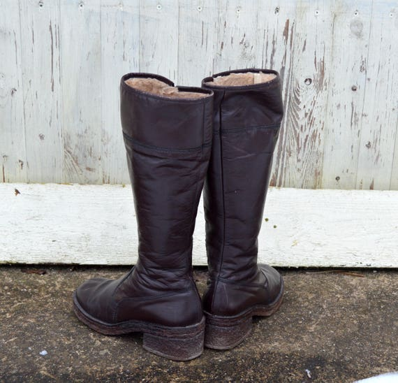 High Chocolate uk 5 Winter Finland us Brown Boots 38 5 Leather Made Fur women Boot Over in Vintage Pull 80s Zip Knee eu 8 qXSAt
