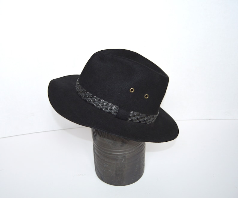 a12777198f Black Wool Fedora Hat Vintage Fashion Mens Hat Steampunk Hat Original Black  Retro Hat Pichler Austrian hat Wool bowler hat Large Size